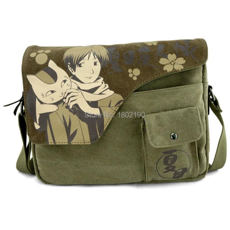 6f0a2b26bc Get Quotations · Messenger Bags Cartoon Japan Anime Schoolbag Cat Natsume  Yujin-cho Handbags New Canvas Shoulder Bags