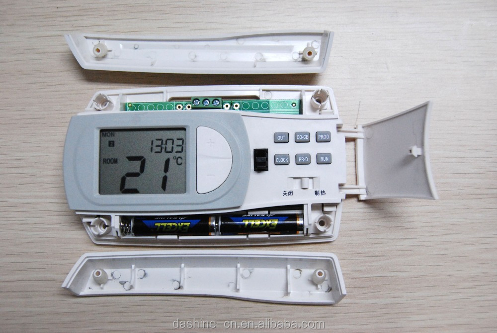 custom thermostat plastic enclosure with button and battery operation housing