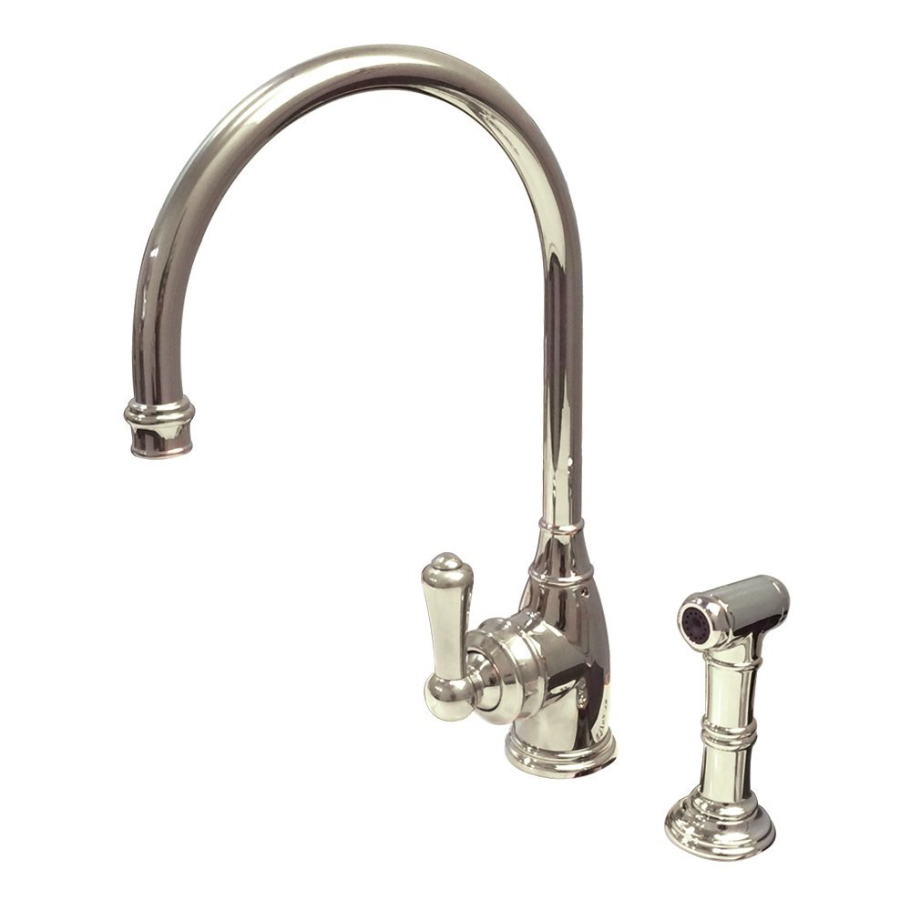 Rohl U.4702PN-2 Perrin and Rowe Single Hole Single Lever Parthian Kitchen Faucet with Sidespray Rinse and High C Spout in Polished Nickel