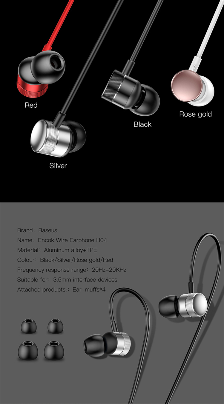 Baseus Professional In-Ear Wired Earphone With High fidelity Sound Quality Music