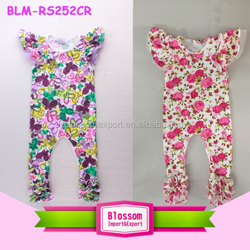 445345063421 Girl Boutique Clothes Flutter Sleeve One Piece Jumpsuit Floral Baby ...