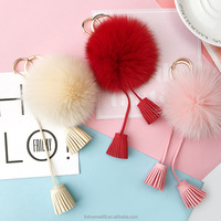Fashion Personalized Keychains Car Women Key Rings tassel keychain with pompom