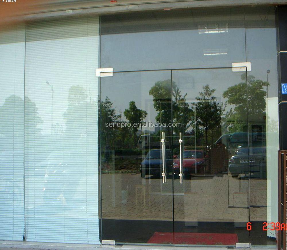 12mm Tempered Glass Entry Door Design Frameless Spring Door