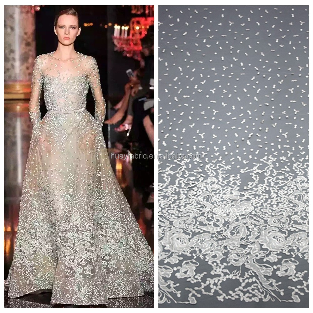 2016 White floral embroidery bridal lace material high quality designer dress net lace fabric HY0377