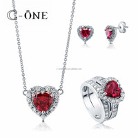 Classy 925 Sterling Silver Ruby Heart Shape AAA zircon Jewelry Sets Guangzhou Jewelry