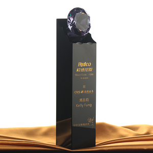 Wholesale sale of unique design custom personalized black crystal with diamond trophy award