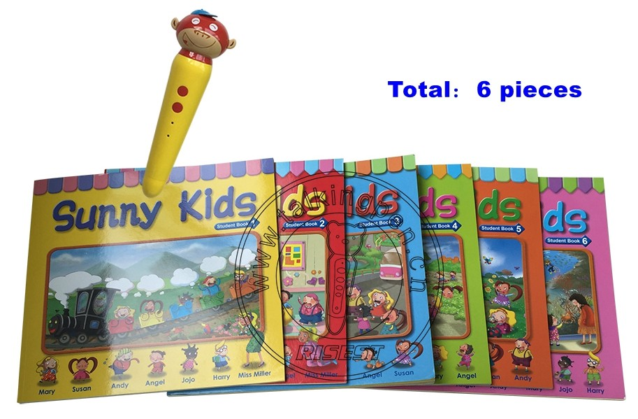 English Audio Book Sunny Kids and Children Point Reading Pen with MP3 Function to Play Rhymes Songs 6 Books