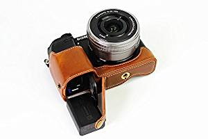 Bottom Opening Version Protective PU Leather Half Camera Case Bag Cover with Tripod Design for Sony ILCE6300 a6300 Camera with PU Leather Hand Strap Brown