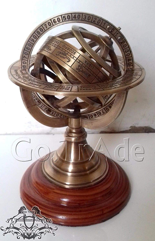 "Arsh Nautical 5"" Engraved Brass Tabletop Armillary Nautical Sphere Globe Gift"