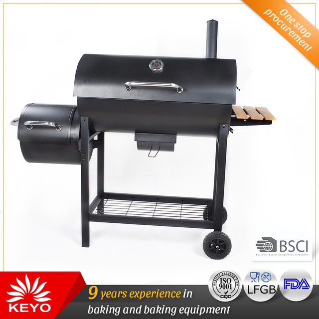 New Arrival Heavy Duty Coal Bbq Double Barrels Smoker Grill For Backyard Outdoor Barbecue