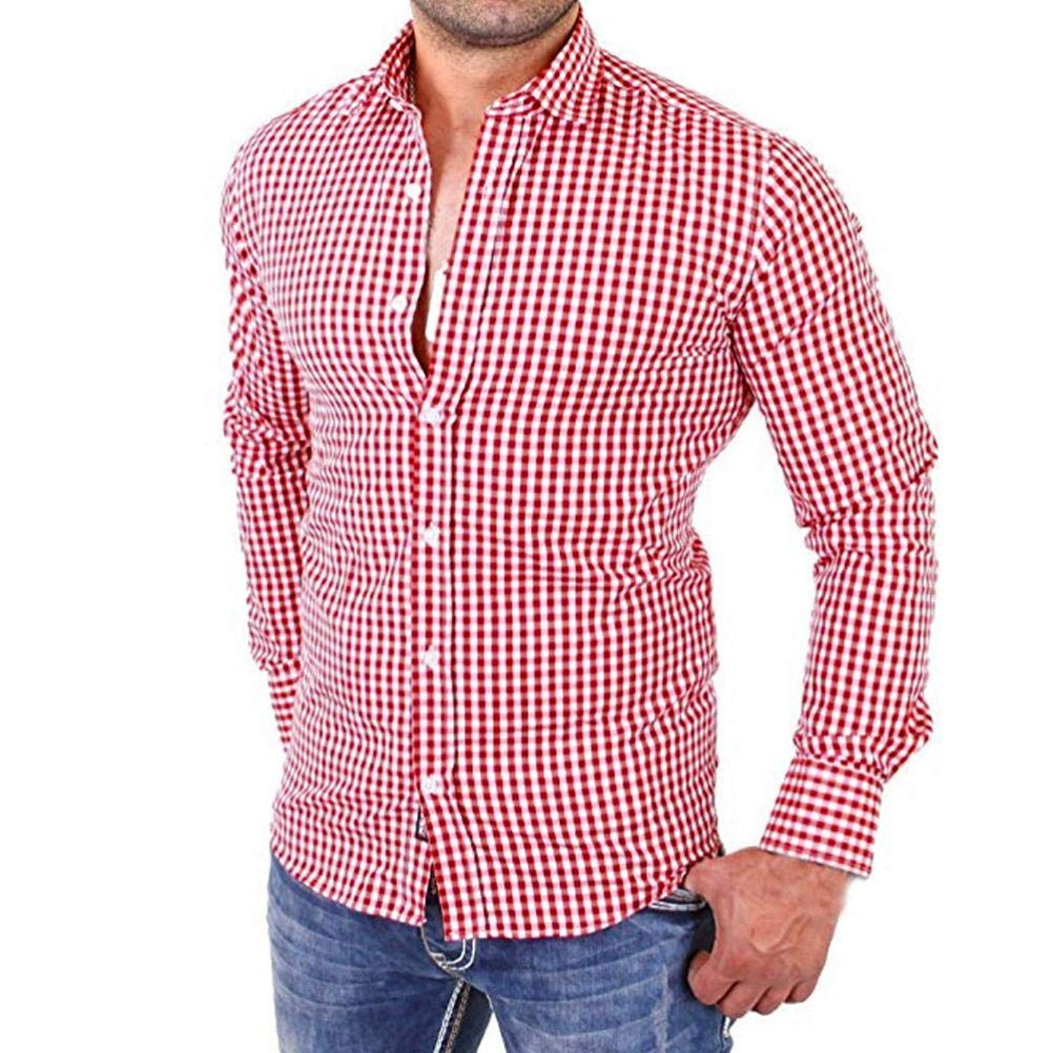 PHOTNO Mens Shirts,Men Slim Fit Plaid Long Sleeve Button Down Blouse Tops Dress Shirts M-2XL