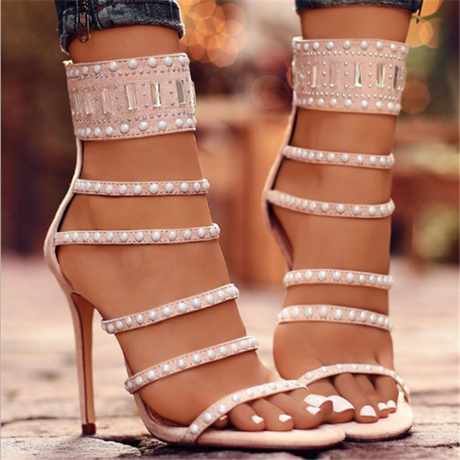 H10100B China market shoes women mature sandals high heels low price ladies sandals