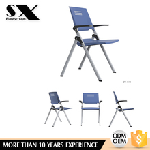 School and training place use foldable plastic wholesale armless folding training task chair and writing board office armchair