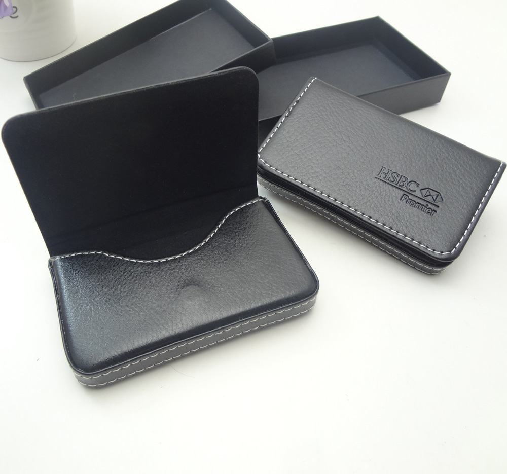 custom embossed logo black pu magnetic credit card holder