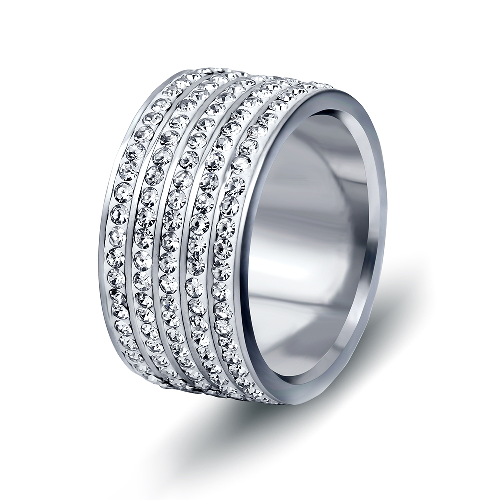 Factory Price Three Colors Five Row Crystal  Pave Stainless steel Rings Jewelry  for women