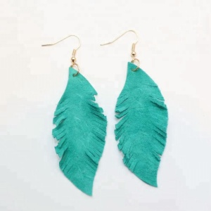 Women's fashion genuine leather earrings leather feather earrings