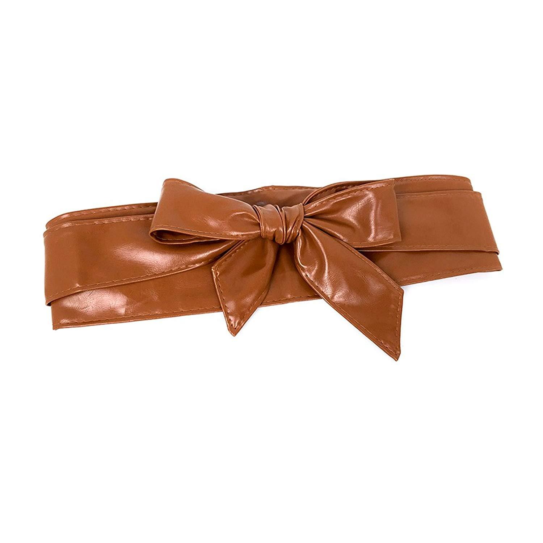 d70705035e2 Get Quotations · Ya Jin Womens Soft Bowknot PU Leather Obi Belt Waist Band  Self Knot Tie Up Wrap