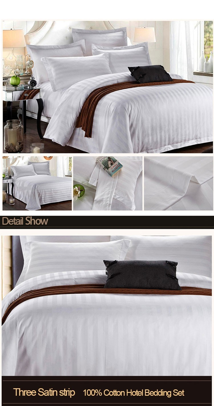 Guangzhou Supplies 100 Cotton 3 Cm Stripe Bed Sheets Bedding Set Luxury Hotel Linen
