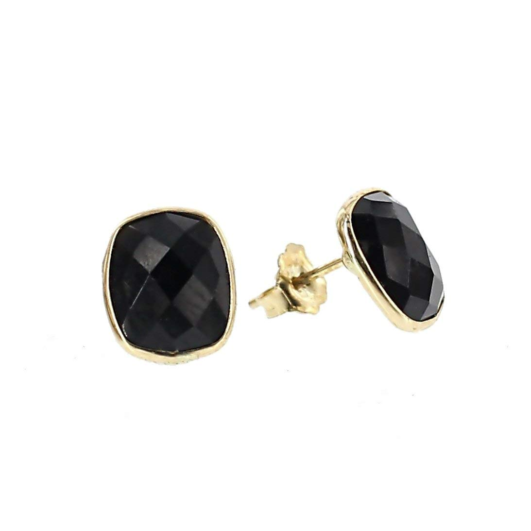 Get Quotations 14k Yellow Gold Stud Earrings With Cushion Cut Black Onyx Gemstones