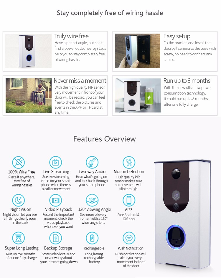 IR Night Vision 8GB TF Card Recording Wifi Doorbell Camera Battery Powered Wireless IP Camera