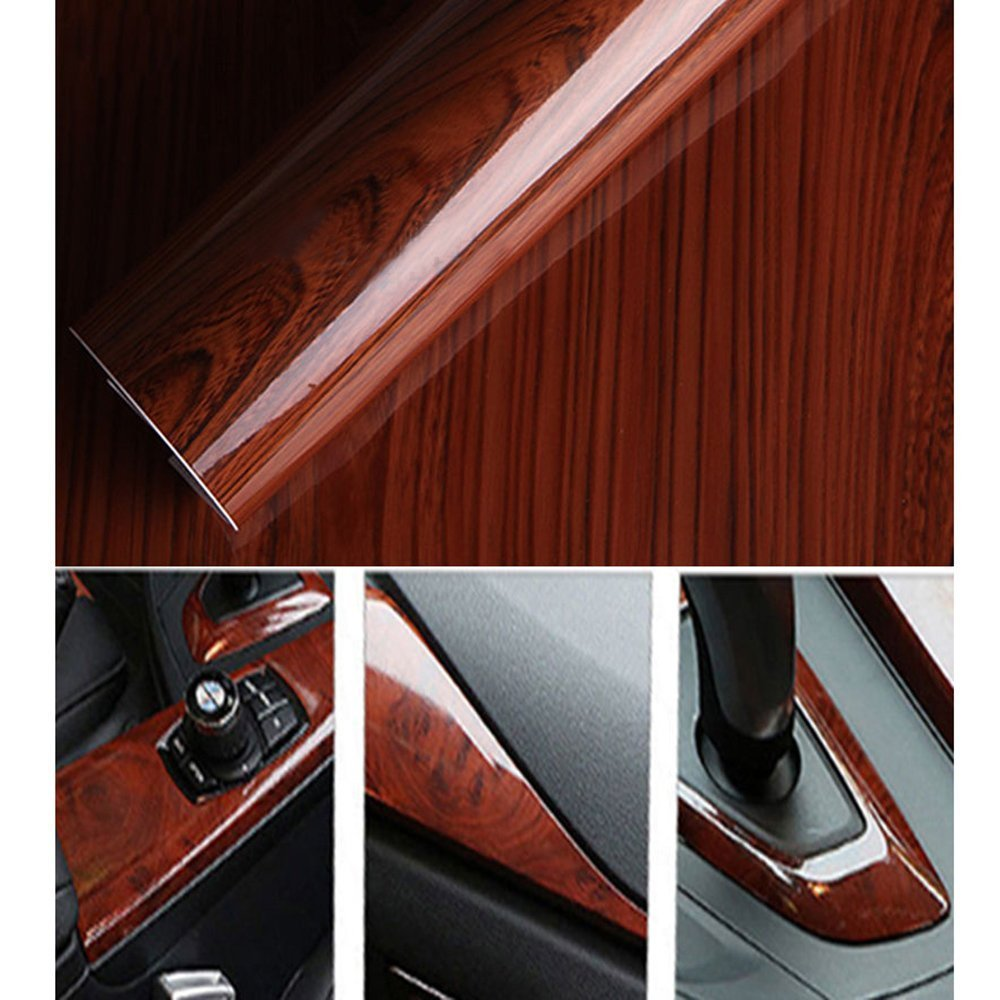 HOHO High Glossy Wood Grain Vinyl Sticker Car Home Decal Wrap Roll Film 124cm50cm
