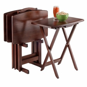 5-Piece set living room folding Snack natural wooden bamboo Table for TV coffee