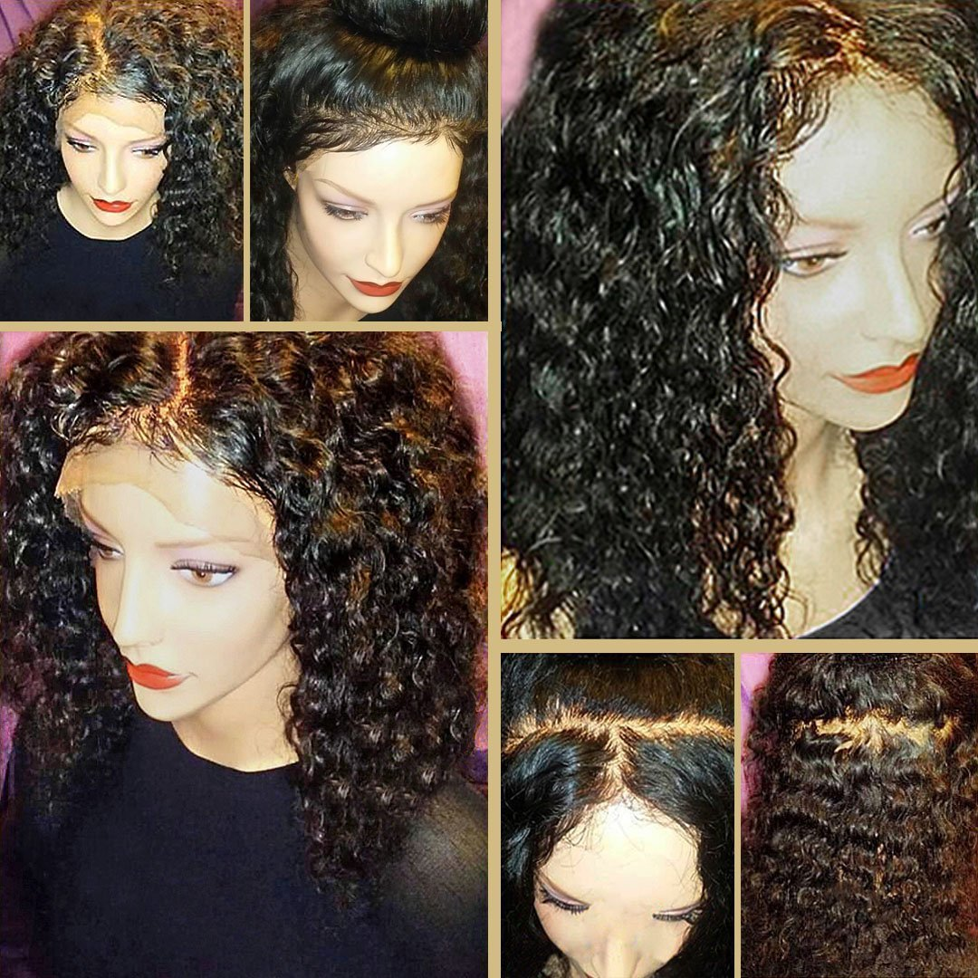 8A 360 Lace Frontal Wig with BaBy Hair Pre-Plucked Natural Hairline Brazilian Virgin Hair 180% Density Curly Hair 360 Lace Wig for Black Women(16inch Free Part)