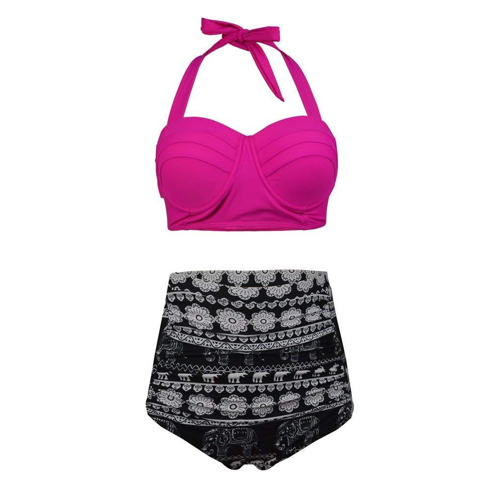 b1d0d627ea2223 Get Quotations · BuyBai Women Vintage Halter Plus Size High Waisted  Swimsuit Bathing Suit Bikini
