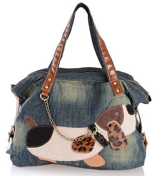 Get Quotations · 2015 New fashion preppy style lady s dog Patchwork denim  bag jeans handbag denim shoulder bag b194b4531