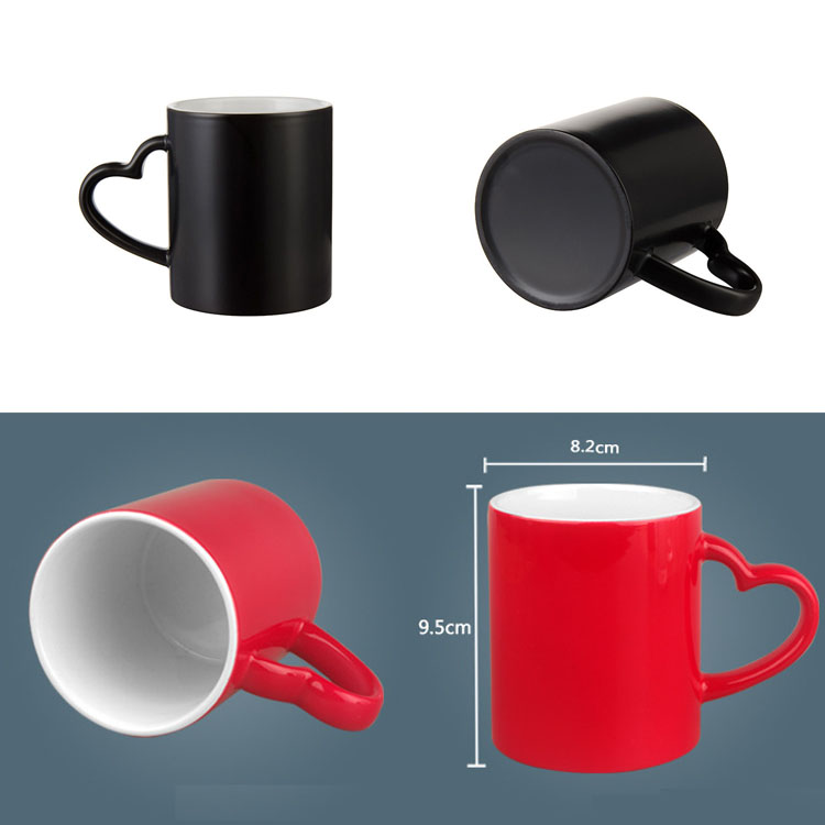 11oz Heat Sensitive Color Changing Magic Highlight Black Red or Blue Sublimation Ceramic Coated Mug with Heart Handle