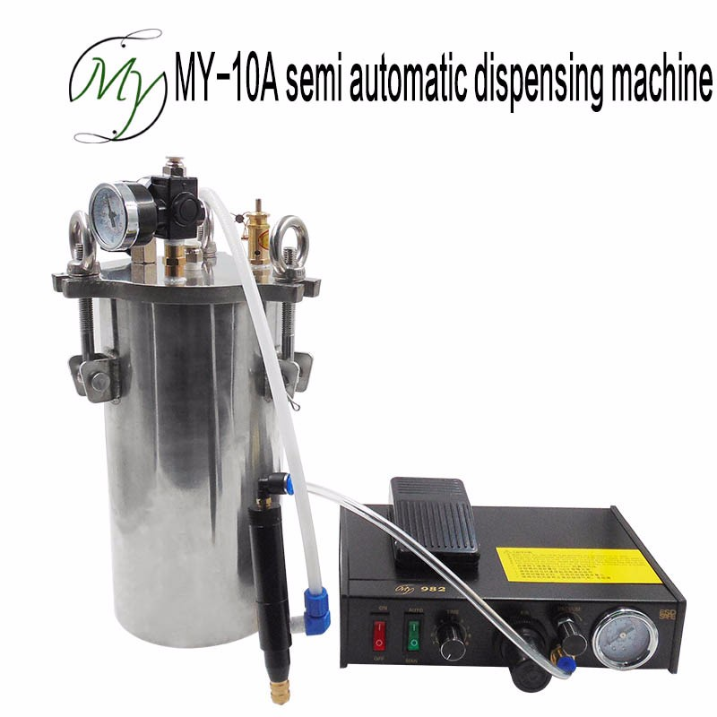 MY10A semi automatic single liquid dispensing machine stainless steel pressure barrel equipment to send the needle cylinder need