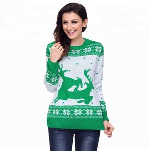 Ladies Acrylic Jacquard Reindeer Snowflake Christmas Sweater Women Pullover Sweater