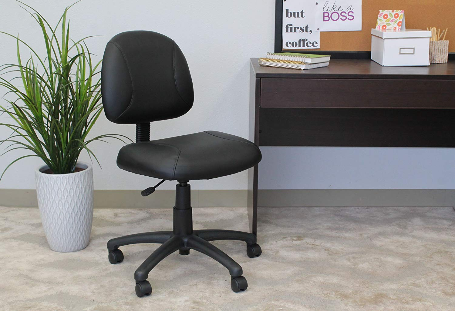 Black Posture Chair, Beautifully Upholstered in Leather, Thick Padded Seat and Back with Built-in Lumbar Support, Pneumatic Seat Height Adjustment, Waterfall Seat Reduces Stress to your Legs