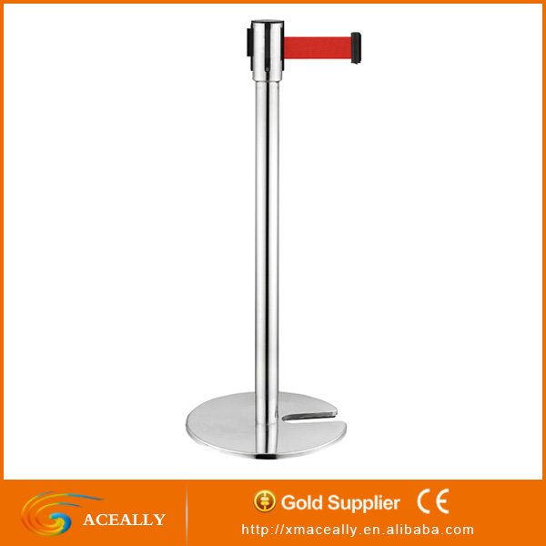 4m stainless steel retractable belt barrier stanchion