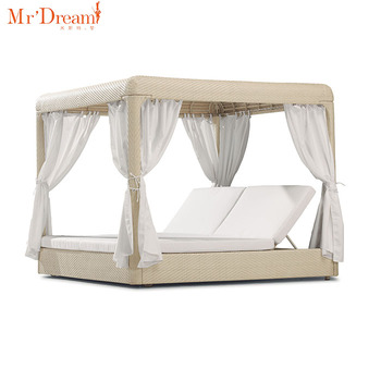 Perfect Landscape Backyard Lounge Rattan Outdoor Bed With Canopy(accept customized)