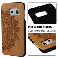 Bamboo mobile phone cover for Samsung S6 edge,carving case for wooden Samsung S6 edge