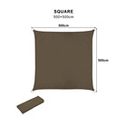 5*5 m Square Sun Shade Sail UV Resistant Water Repellent Cardboard Car Sun Shade
