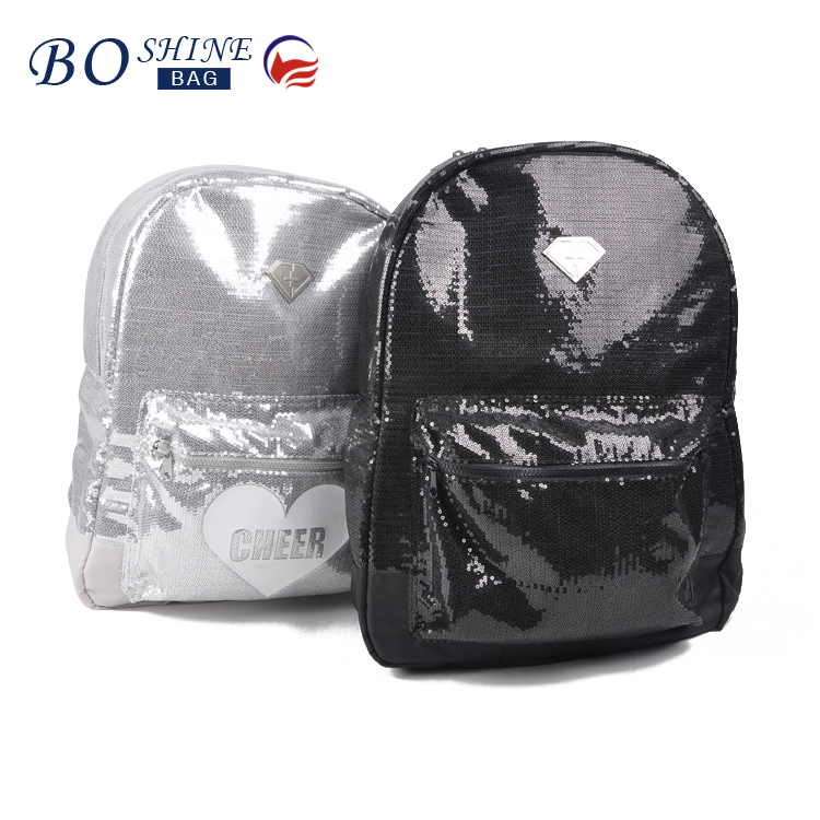 Fashionable sequin backpack bag cheering backpack bag for girl