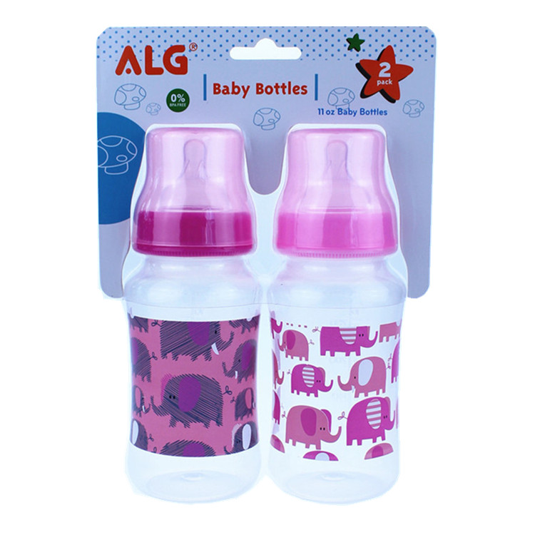 ALG wholesale wide neck 11oz PP hands free baby bottle feeding 2pcs pack