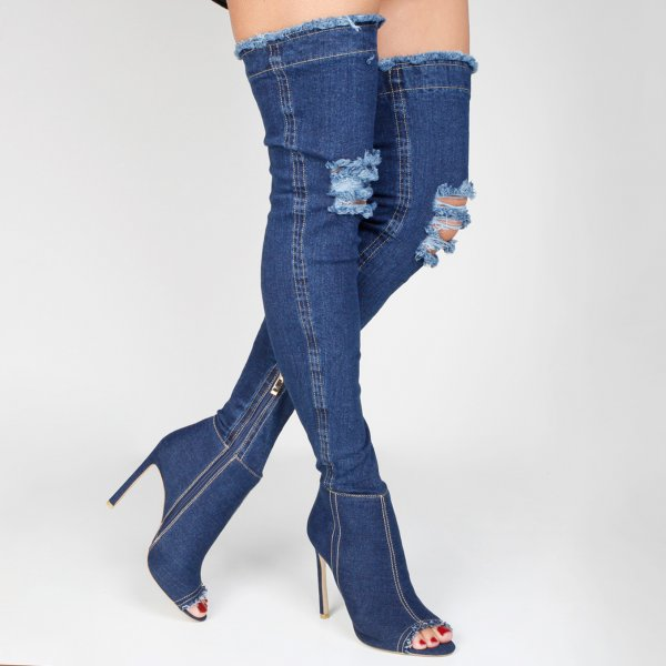 women Long Boots Cut-out High Heels Sexy Thigh High Jeans Rome peep toe Sandal Dark blue denim boots Over the knee