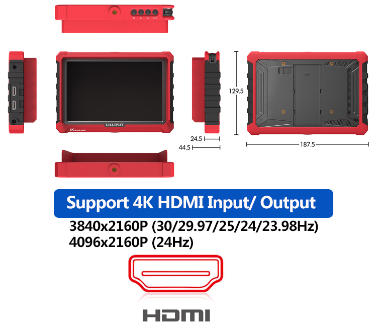 "7 inch 4K HDMI On Camera Field Monitor DSLR Monitor With 7"" Magic Arm"