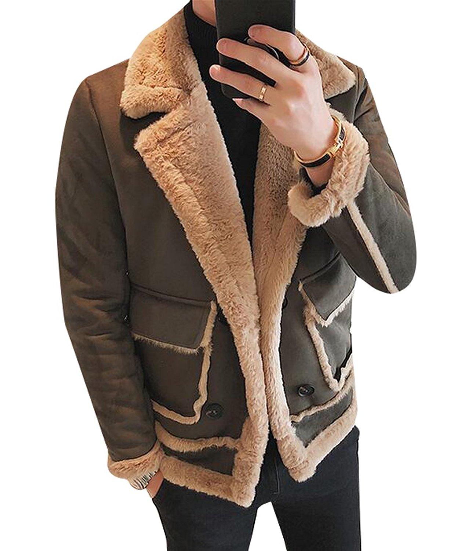 Fensajomon Mens Faux Fur Lined Thicker Winter Slim Down Coat Jacket Outerwear