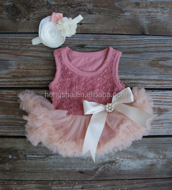 Rose Tutu Dress For 1 Years Old Girl Birthday Baby Girls First Birthday Frocks With Headband 2016 HSD5763