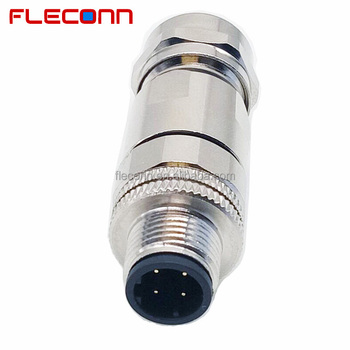 IP67 Metal Shell 4 Pin Male M12 D-Coded Connector