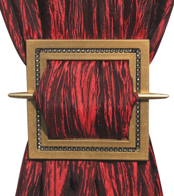 Gold Two Curtain Holdbacks / Tiebacks, Shining Square, Bronze, Silver, Gold, Black