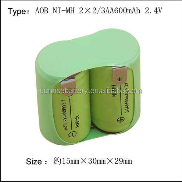 Original NEW 2*2/3AA 600mAh 2.4V 2/3AA NIMH Rechargeable Battery Pack With Pin For Philips razor shaver