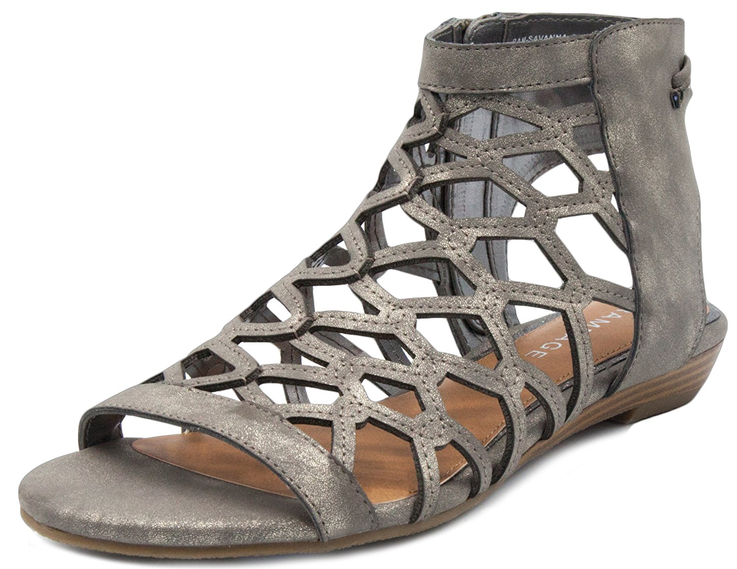 d3908cf9f23 Get Quotations · Rampage Women s Savanna Demi Wedge with Honeycomb Cutouts  and Zip Up Ankle High Gladiator Sandal