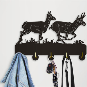 Pronghorn Silhouette Decorative Wall Hanger Hook Creative Animal Towel Wood Wall Hooks For Living Room Bathroom