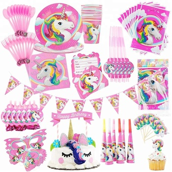 Easternhope Pink Unicorn Birthday Party Supplies Girls Party Set  Decorations Cake Topper Favors Cutlery Kids Party Decorations - Buy Unicorn  Birthday