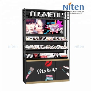 Stoving varnish cosmetic beauty products wall display high end wooden display shelf